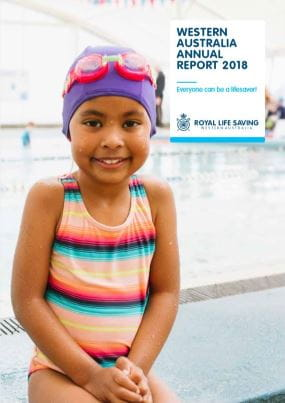 RLSSWA Annual Report 2018 cover page featuring an image of a young girl wearing rainbow coloured bathers a purple swimming cap and pink goggles on her head with a swimming pool in the background