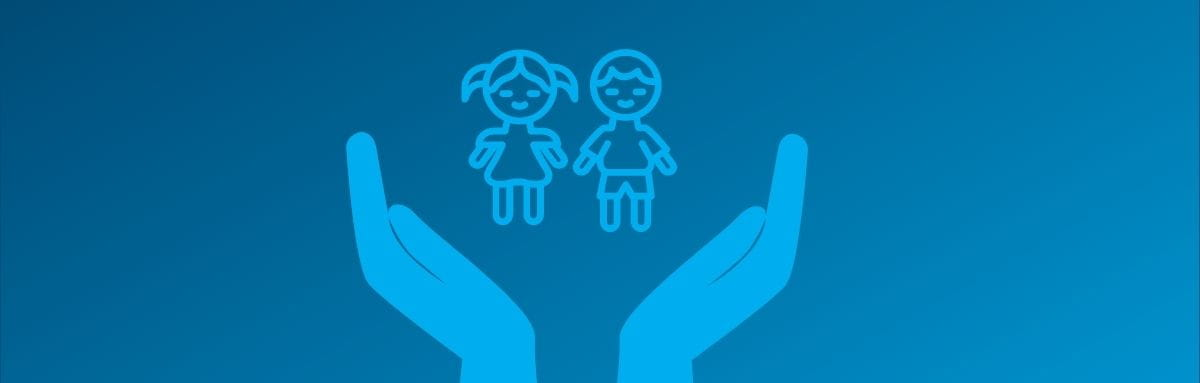 Illustration of two hands upturned holding two children safe
