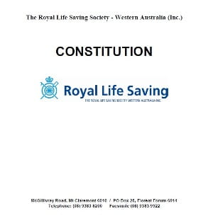 Cover page of the Royal Life Saving Society WA Constitution