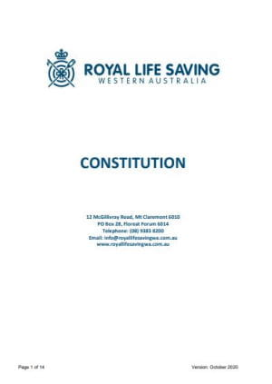 Cover page of the Royal Life Saving WA Constitution