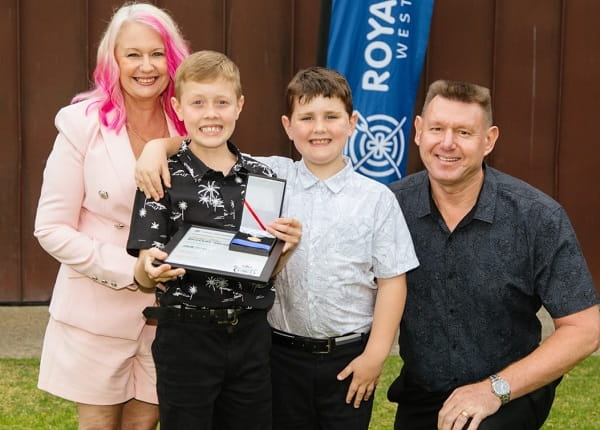Bravery Award winner Seth Eade with his family