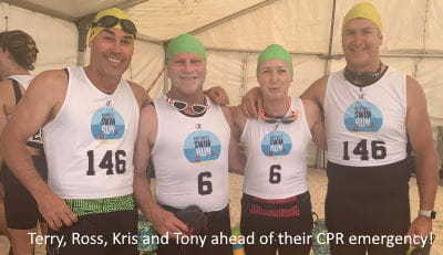 Terry, Ross, Kris and Tony at the start of the Rotto Swim Run Event