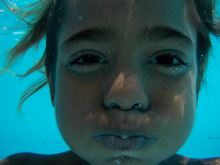 little girl underwater