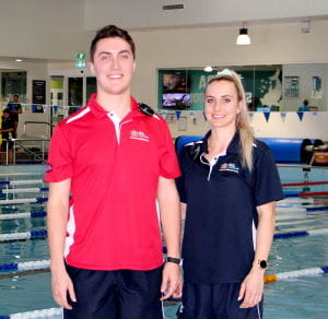 Trainees Harley Osborne and Shania Quartermaine by the pool at Leisurefit Boorgaoon