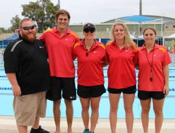 Geraldton lifeguard team of David Emery (manager), Jasper O'Byrne, Emma Smith, Ellie Pead and Abbey Benham by the pool at HBF Stadium