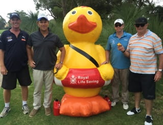 Our team at the SPASA WA golf day with Quackers the inflatable duck