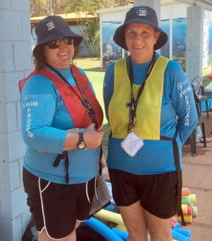 Local Port Hedland swim instructors Abbra and Nicolette ready to teach swimming lessons