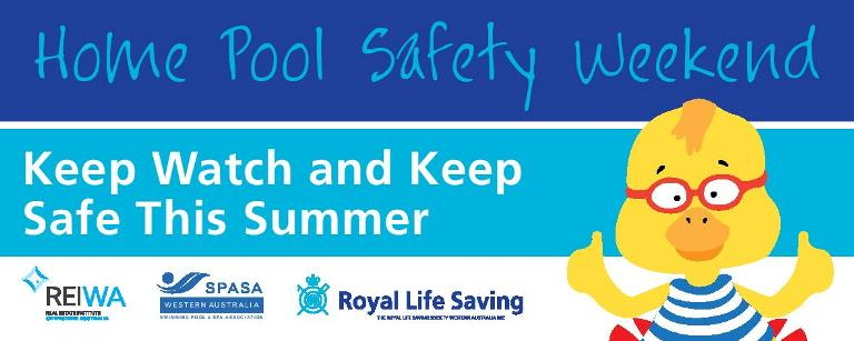 image of home pool safety weekend sticker with Dippy Duck and a home pool check message