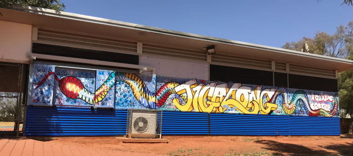 New artwork at the front of Jigalong pool