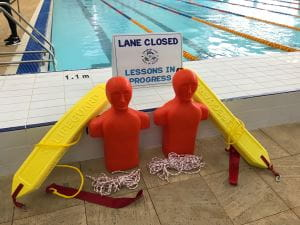 Rescue tubes and tow manikins by the pool at Margaret River