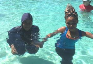 Multicultural girls in the pool at Lynwood