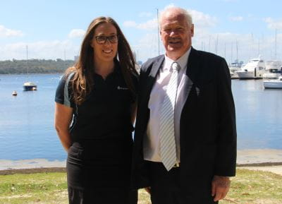 Royal Life Saving's Lauren Nimmo with Minister Mick Murray
