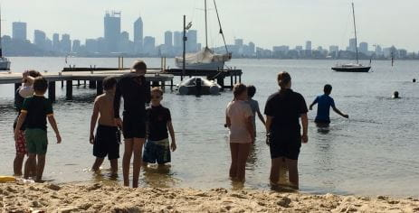 Sea scouts making their way into the Swan River to learn lifesaving skills