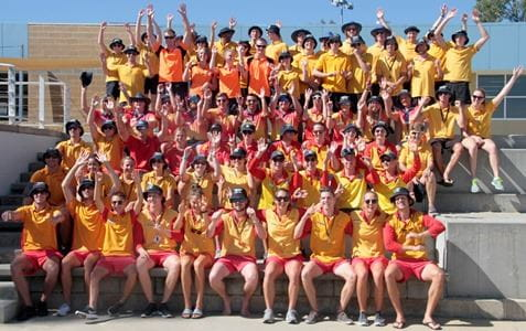 Full team photo of competitors in Pool Lifeguard Challenge outside RLSSWA headquarters