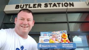 Steve at Butler Train Station with his collection box