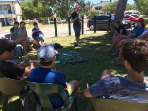 Hannah from DPaW teaching Scouts by the Swan River