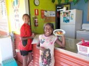 Two girls with their Healthway plate