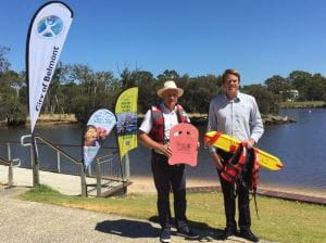 MP Steve Irons and RLSSWA's Trent Hotchkin with rescue equipment by the Swan River