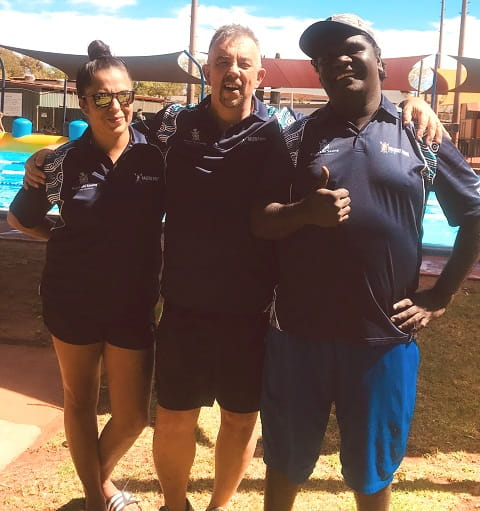 two Talent Pool participants with program manager Tim Turner