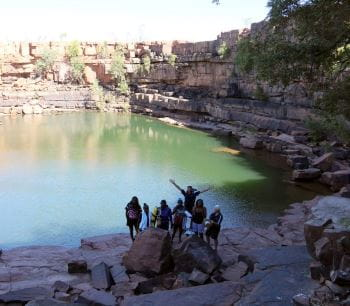 Talent Pool participants by a freshwater gorge in outback WA
