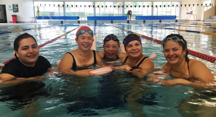 women in the pool at Balga during their swim and survive lessos