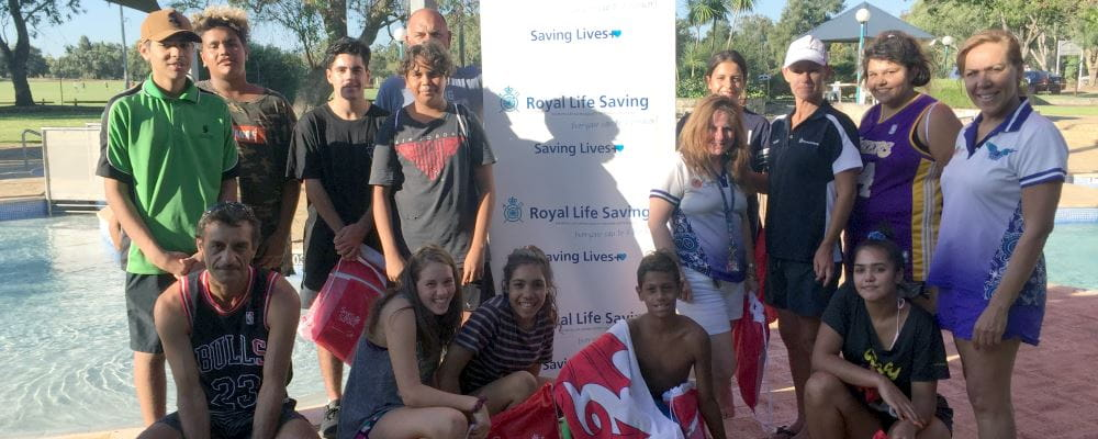 Aboriginal youth by the pool at Swan Park at the start of their Bronze training