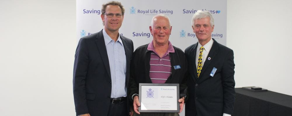 RLSSWA CEO Peter Leaversuch with new Life Member David Cummins and RLSSWA President Colin Hassell