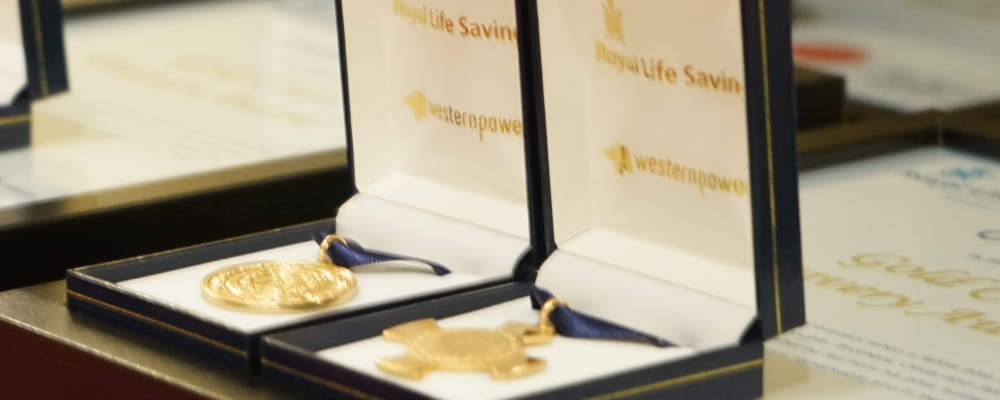 Bravery award medallions in display boxes