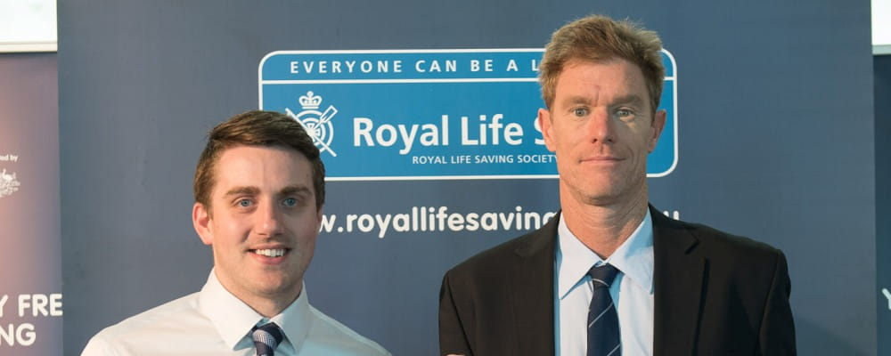 Former paralymic swimmer Matthew Cowdrey with Royal Life Saving Society WA General Manager Community Relations Greg Tate
