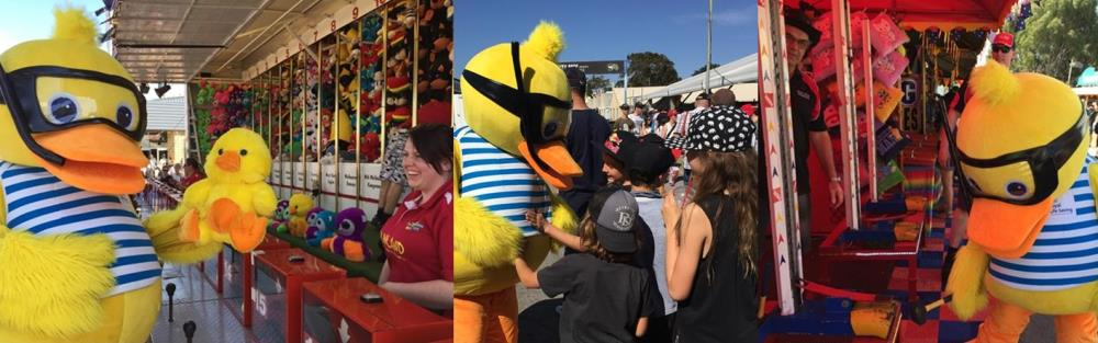 Dippy Duck having fun, playing games and meeting children at the 2015 Perth Royal Show