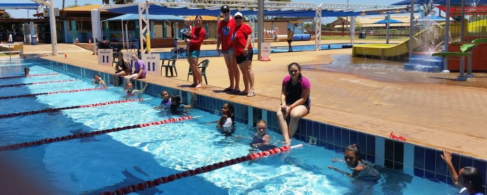 Children and organisers enjoying the Spirit Carnival at South Hedland Aquatic Centre