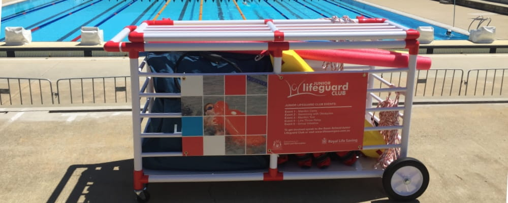 image of Junior Lifeguard Club equipment cage by the pool at HBF Stadium