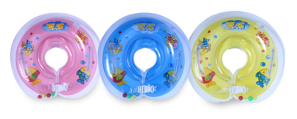 Three baby neck floats in pink, blue and yellow colours