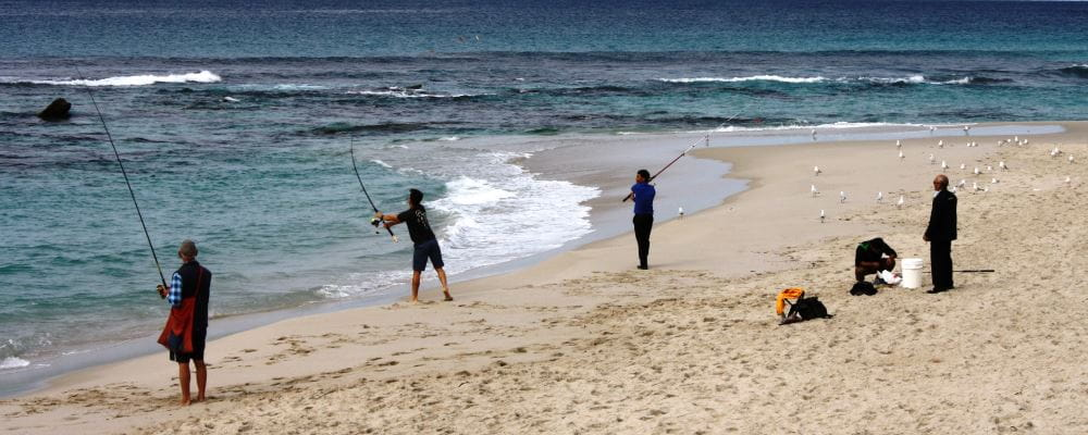 image of people fishing from the beach