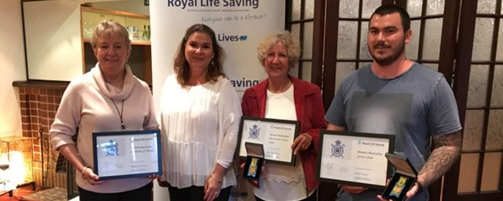 Noelene Usher, RLSSWA's Jonnine Rowe, Bev Annesley and Billy Vibart with their awards