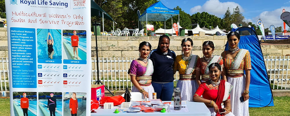 Volunteers at the Royal Life Saving stand during Diwali Mela