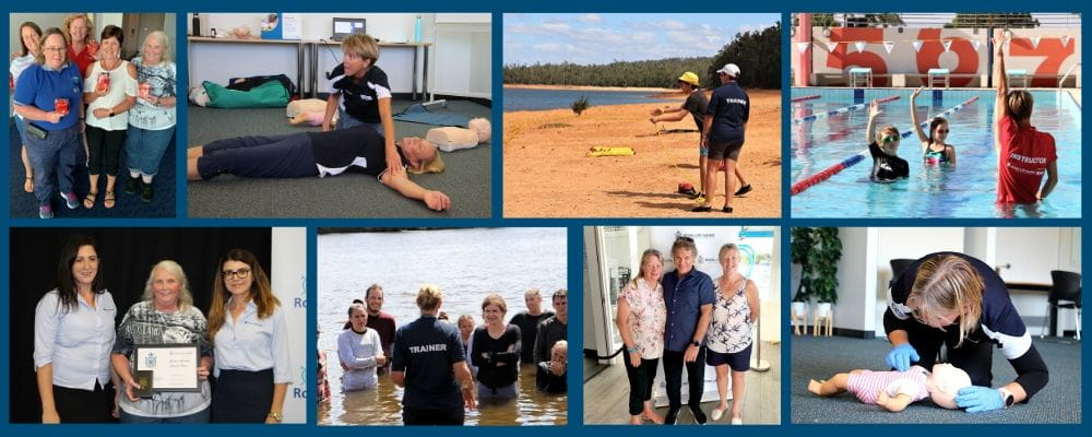 A collage of images showing our trainers working in th community
