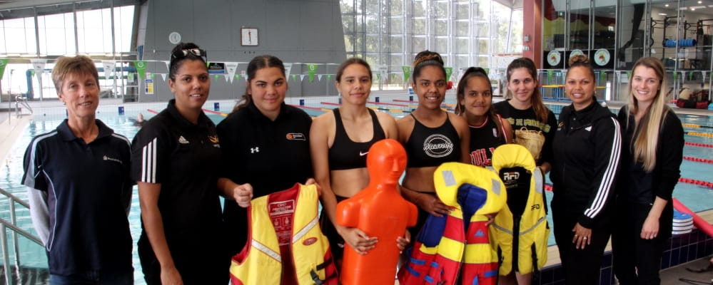 The Deadly Sista Girlz by Kwinana Pool before beginning their Bronze Medallion training.
