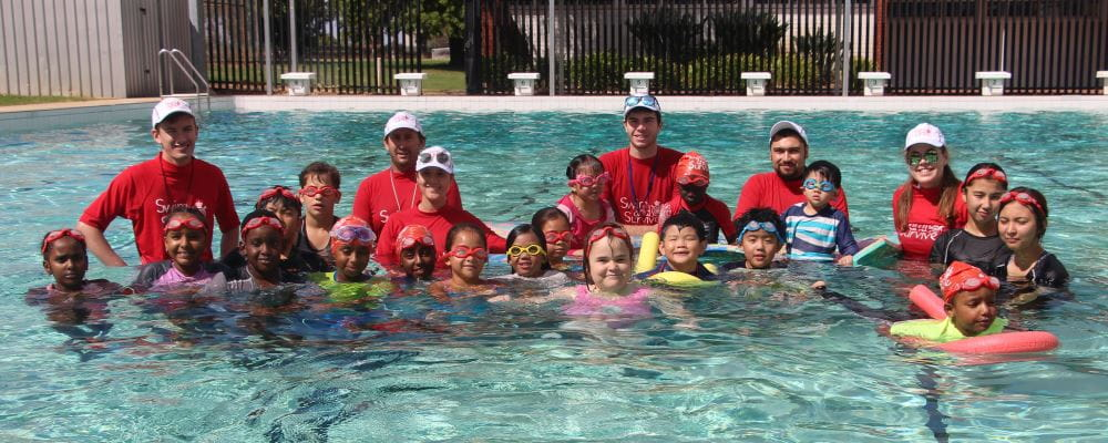 Swim Instructors and participants in the pool at Dianella Secondary College