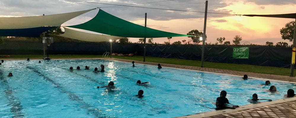 Sunset at Fitzroy Crossing swimming pool