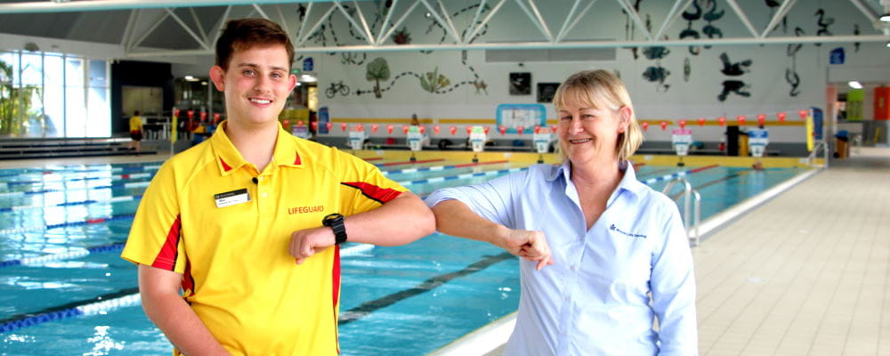 Trainee Max Wallace with Royal Life Saving WA Trainer Leanne Coverley-Brandis at Riverton Leisureplex