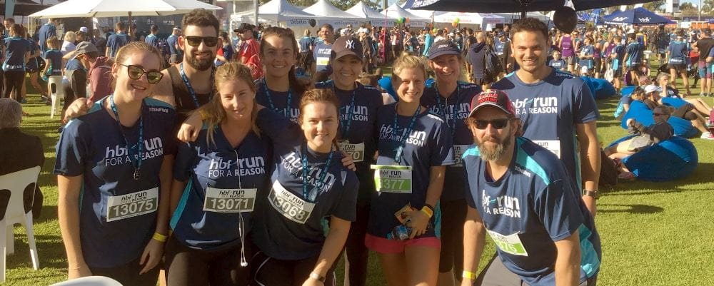 Staff from Bayswater Waves gathered for a team photo at the HBF Run For a Reason