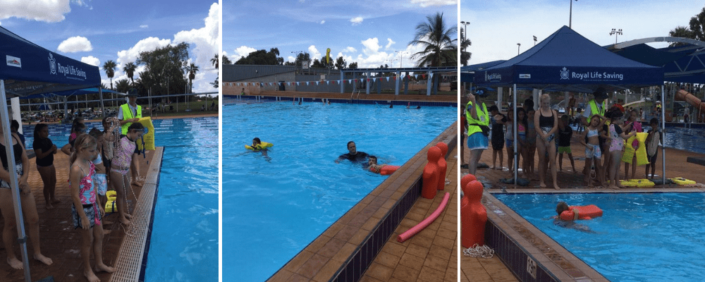 Children in Port Hedland enjoying lifesaving events at their swimming carnival