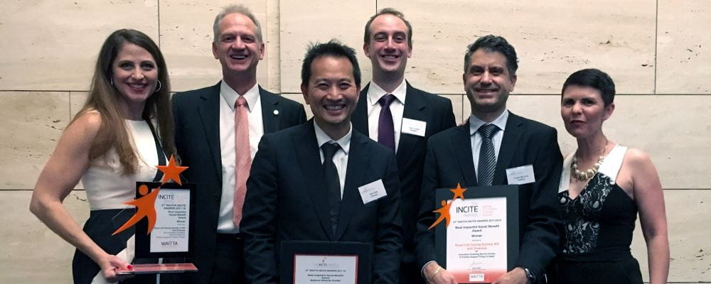 Laura Kazmirowicz and Ian Brown from Royal Life Saving WA, with Dien Tang, James Delides, Claude Delucia and Sharon Johnson from Diversus with our Incite Awards