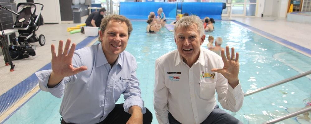 Royal Life Saving Society WA CEO Peter Leaversuch with Water Safety Advocate Laurie Lawrence by the Infant Aquatics pool at Bayswater Waves