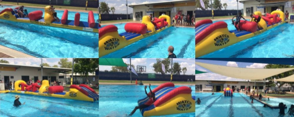 Pictures of Aboriginal kids enjoying the inflatable at Fitzroy Crossing remote swimming pool
