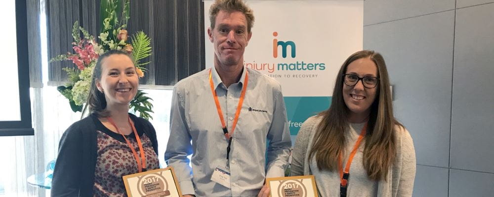 Keep Watch Co-ordinator Rachel Murray, General Manager Community Relations Greg Tate and Senior Manager health promotion & Research Lauren Nimmo with their Injury Prevention Awards