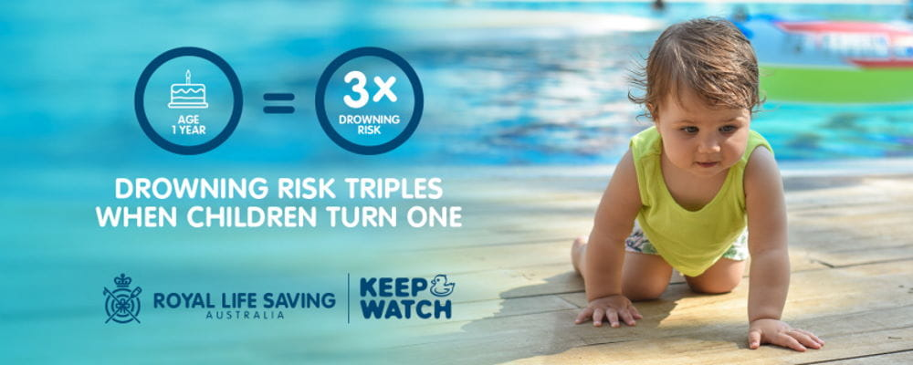 Statistics showing one year old toddlers are three times more likely to drown, with an image of a crawling toddler girl