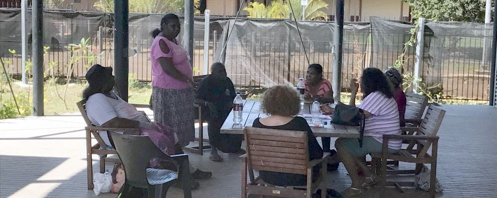 Member for the Kimberley Josie Farrer meeting with members of the Kalumburu community