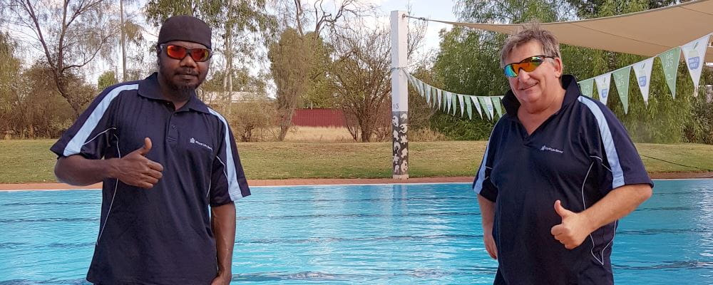 Lestair Sailor with Jigalong Pool Manager David Lucas